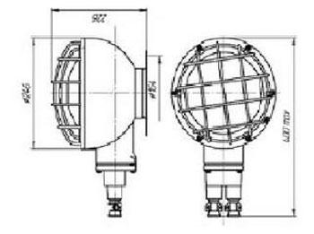 Габаритные размеры светильников НПП68-100, мм:
