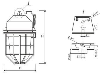 Габаритные размеры светильников НСП-23, мм:
