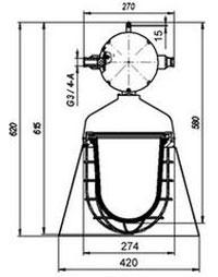 Габаритные размеры светильников РСП62-250, мм: