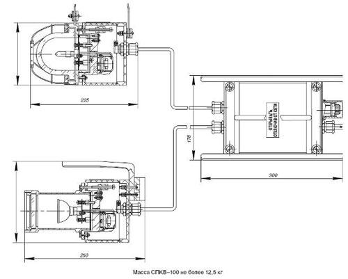 Габаритные размеры светильников СПКВ, мм: