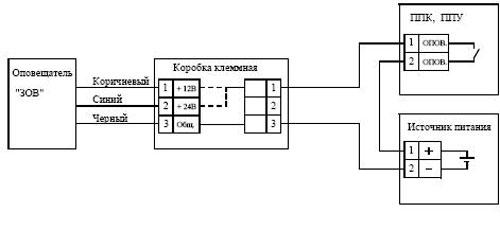 Схема подключения оповещателей ЗОВ