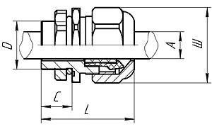 Габаритные размеры ВК-С-ВЭЛ1 (для небронированных кабелей)