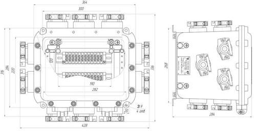 Габаритные размеры коробок КЗРВ-4.2, мм: