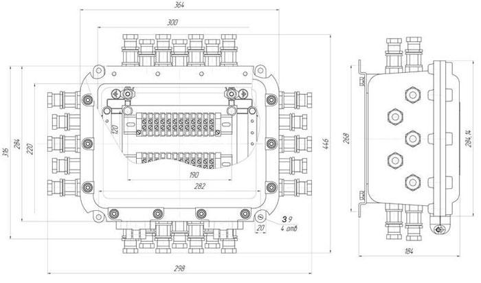 Габаритные размеры коробок КЗРВ-4.1, мм: