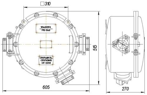 Габаритные размеры ящиков кабельных ЯКВ, мм: