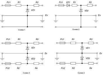 Электрические схемы барьеров искрозащиты БИЗ