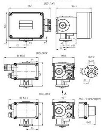 Габаритные размеры выключателей концевых серии ВКВ, ВКО, мм: