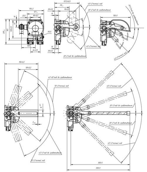 Габаритные размеры выключателей ВПВ-4Б, мм:
