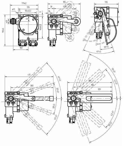 Габаритные размеры выключателей ВПВ-4М, мм: