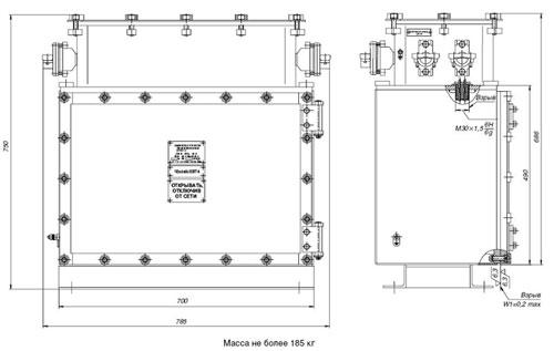 Габаритные размеры комплектного устройства типа КУУК, мм: