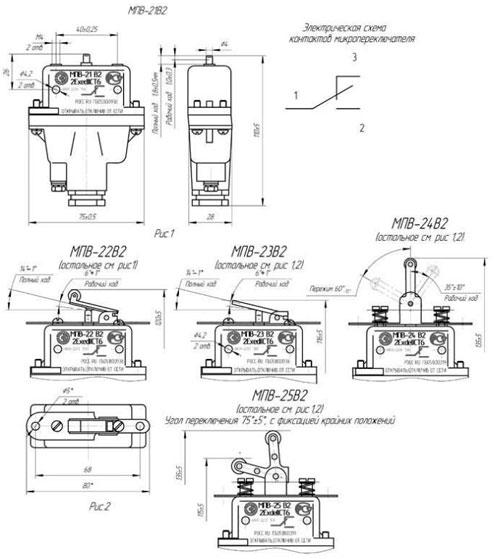 Габаритные размеры микропереключателей серии МПВ-2, мм: