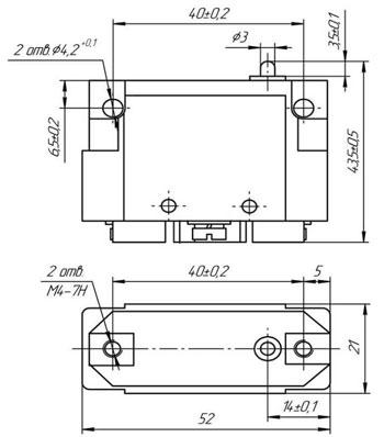 Габаритные размеры микропереключателей МПВ-1, мм: