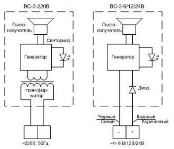 Электрическая схема сигнализаторов ВС-3