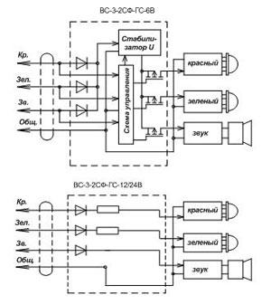 Электрическая схема сигнализаторов ВС-3-2СФ-ГС