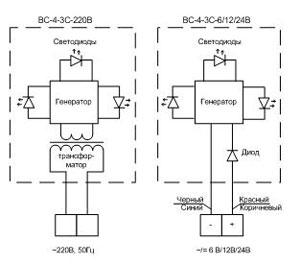 Электрическая схема сигнализаторов ВС-4-3С