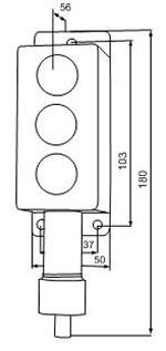 Габаритные размеры сигнализаторов ВС-4-3СФ, мм: