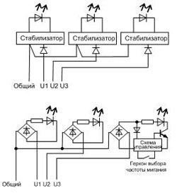 Электрическая схема сигнализаторов ВС-4-3СФ