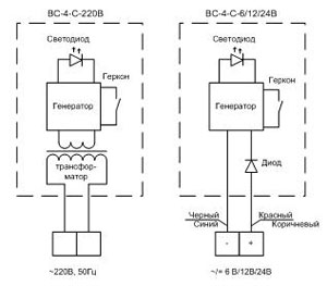 Электрическая схема сигнализаторов ВС-4-С