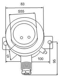 Габаритные размеры сигнализаторов ВУУК-МС-КС, мм: