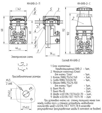 Габаритные размеры элементов кнопочных КН-БКВ, мм: