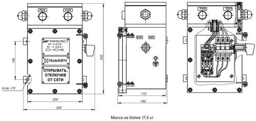Габаритные размеры пускателей серии ПВ (первый типоразмер), мм:
