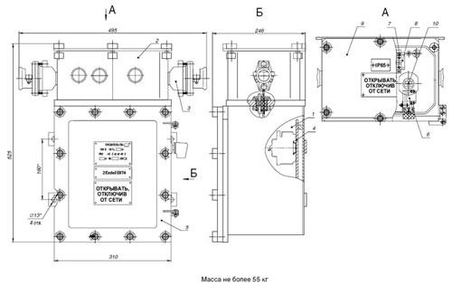 Габаритные размеры пускателей серии ПВ (второй типоразмер), мм: