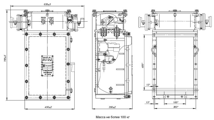 Габаритные размеры пускателей серии ПВ (третий типоразмер), мм: