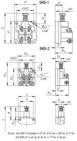 Габаритные размеры блоков серии БКВ, мм: