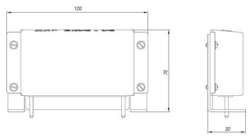 Габаритные размеры блока контроля сопротивления БКС, мм: