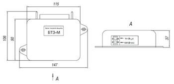 Габаритные размеры блоков токовой защиты БТЗ, мм: