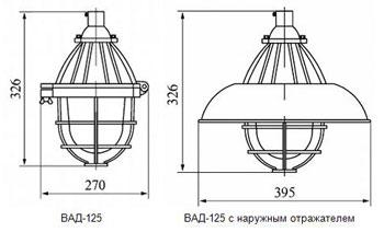 Габаритные размеры светильников серии ВАД, мм: