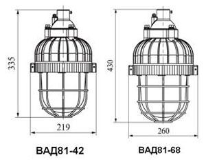 Габаритные размеры светильников ВАД-81, мм: