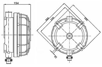 Габаритные размеры светильников ВЭЛ-Д, мм: